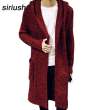 Siriusha Autumn and winter lovers outerwear male medium-long sweater cardigan thickening long design coat