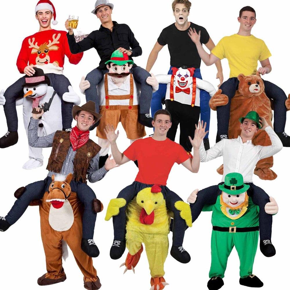 Adulto Cavalcare Animali Costume Del Carattere Della Mascotte Piggy Back Costume Divertente Addio Al Nubilato Fancy Dress Capodanno Regalo Raccolta Novità