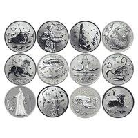 12Pcs Set Russian 12 Zodiac Signs Commemorative Coins Exquisite Silver Souvenir Metal Craft Coins