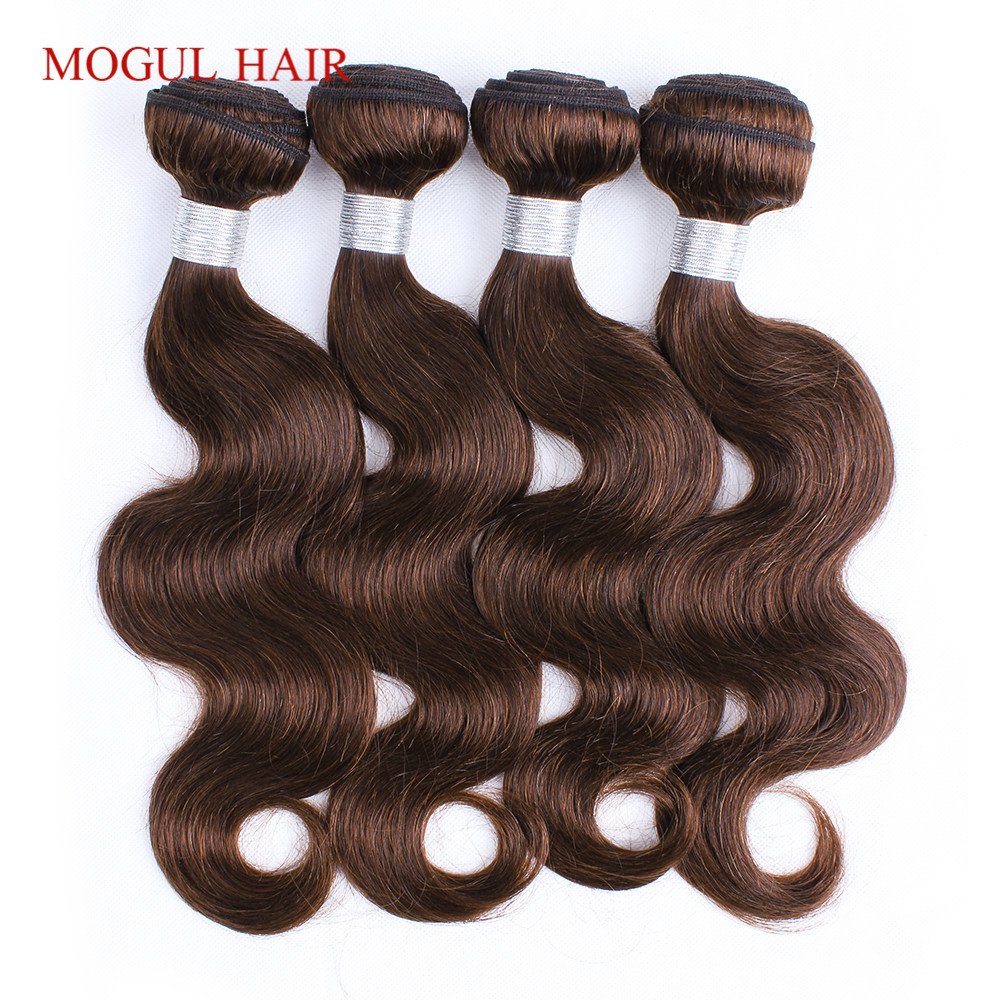 MOGUL HAIR Color 4 Dark Brown Body Wave Bundles Peruvian Non Remy Human Hair Extensions 3/4 Bundles Colored Hair Weave