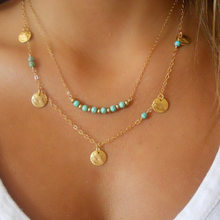Coin Beads Chains With Chain Retro All Collocation Multilayer Bohemian Green Pendant Necklace Charm Ladies Jewelry Wholesale(China)