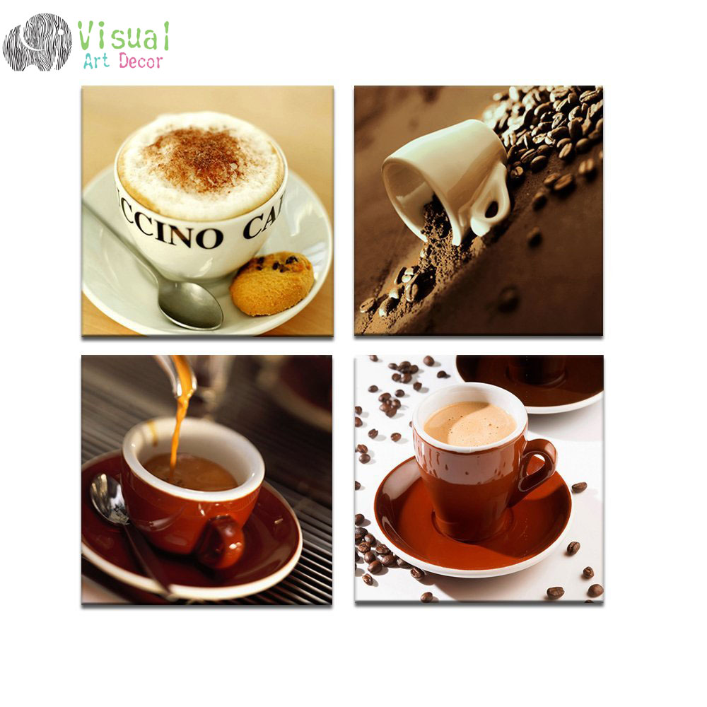 Set Of 3 Coffee Cup Canvas Wraps: Coffee Bar Canvas Wall Art Modern Paintings Classical