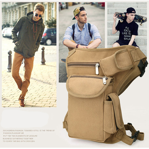 Multi-functional Unisex Canvas Military Tactical Travel Hiking Motorcycle Cycling Leg Bag Pack Outdoor Fishing gear Waist Bags Multan