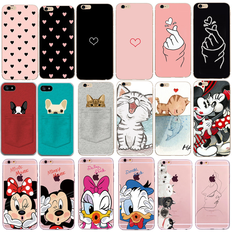 Case For Iphone 7 Cover Phone Accessories Couple Coque Capas For Iphone 8Plus Iphone5 5S SE X XS 6 S 6S 7 8 Plus Cases Heart