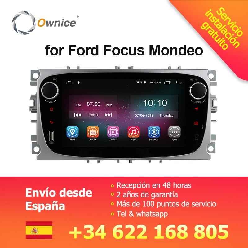 Ownice K1 Android 8.1 Voiture Lecteur DVD GPS Navi pour Ford Focus Mondeo Galaxy Kuga avec 2g RAM 16g ROM Stéréo Tête Unité 4g LTE