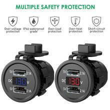 Outlet Socket-Adapter Usb-Charger Waterproof Voltmeter Voltage-Display Power with
