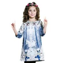 2017 kids princess dresses winter girl dress for party Unicorn Print Children Autumn girls dresses for party children 3-14 Y