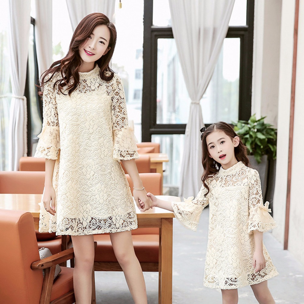 Family Matching Outfits 2017 Brand Matching Mother Daughter Clothes Lace Mother And Daughter Dresses Mom and girl dress 5-8T XL 2017 summer children clothing mother and daughter clothes xl xxl lady women infant kids mom girls family matching casual pajamas
