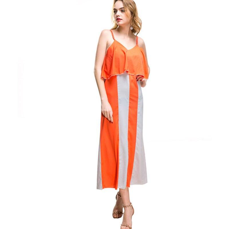 2018 New Women Summer Long Maxi Dress Bohemian Beach Long Dresses Striped Patchwork Printing Strap Ruffles Sexy Backless Dress