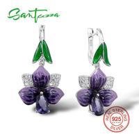 925 Sterling Silver Big Purple Enamel Flower Earrings HANDMADE
