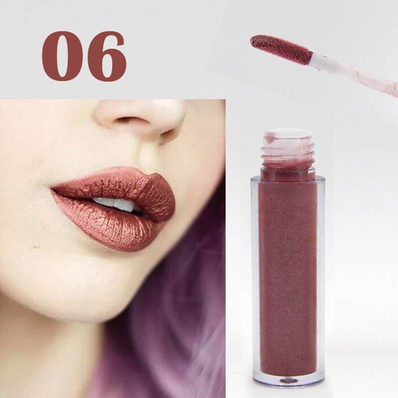 Women Fashion Glitter Lipstick Diamond Shine Lips Makeup Metallic Matte Lip Stick Lasting Waterproof Lipsticks 8