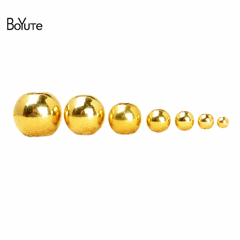 BoYuTe 100Pcs 2MM 3MM 4MM 5MM 6MM 8MM 10MM 12MM 14MM Round Metal Brass Spacer Beads For Jewelry Making DIY Accessories