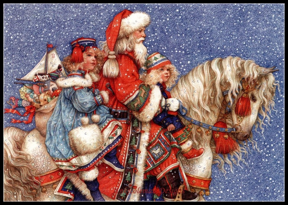 Embroidery Counted Cross Stitch Kits Needlework - Crafts 14 Ct DMC Color DIY Arts Handmade Decor - Santa On Horse