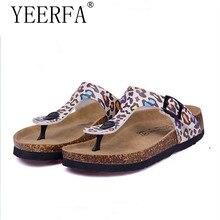 1ea75e312 Yierfa أزياء النساء النعال الوجه يتخبط الصيف أحذية الشاطئ الفلين الشرائح  بنات الشقق الصنادل عارضة أحذية