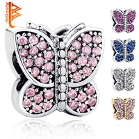 Original 925 Sterling Silver Sparkling Butterfly With Purple Cubic Zirconia Beads Fit Bracelet Necklace DIY Jewelry