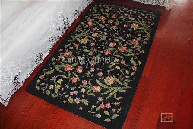 Us 199 0 Free Shipping 3 X5 Needlepoint Rugs 100 New Zealand Wool Rugs Carpets Black Floral Design In Carpet From Home Garden On Aliexpress Com