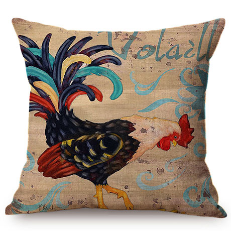 Colorful Cock Oil Painting Art Chicken Rooster Throw Pillow Cover Home Decorative Cotton Linen Sofa Cushion Cover Car Pillowcase M093-5