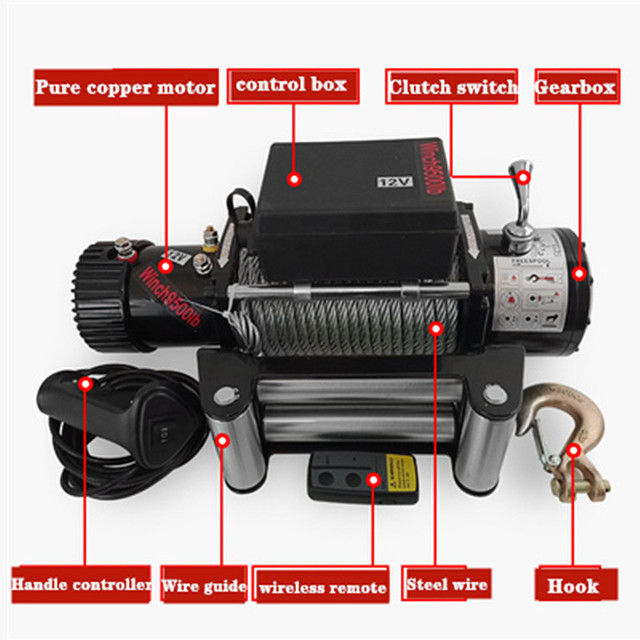 Winch car tuning electric winch  2000/3000/4000 /4500/6000/9500/12000lb 24v Handle/wireless Wire rope ATV winches for Beach bugg 1
