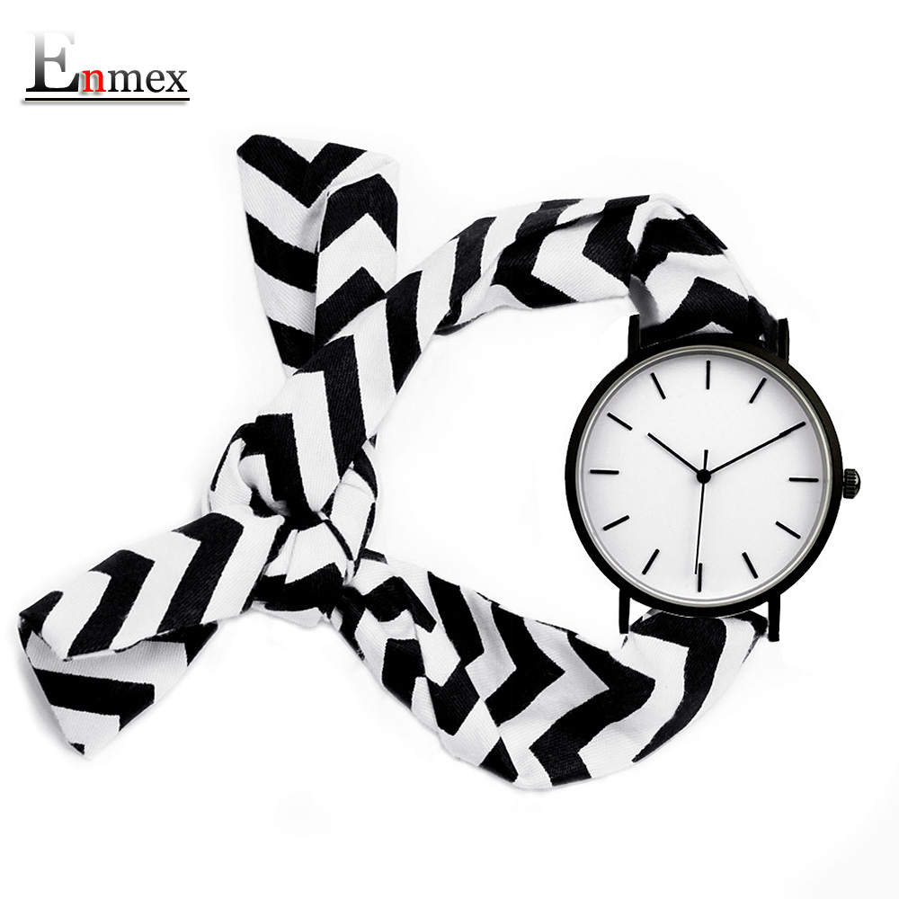 2018 Lady gift simple stylish watch Enmex strappy cotton watch cutting-edge fashion Monochrome wave pattern quartz wristwatch 2017 gift for lady enmex simple design pure white wristwatch fresh and clean style lovely lady fashion clock quartz watches