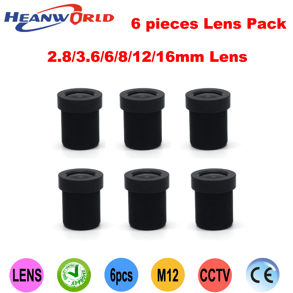 Heanworld Free shipping 2.8mm,3.6mm,6mm,8mm,12mm,16mm IR lens Fixed IRIS Lens Set for cam and CCD CMOS CCTV Camera (6 Lens Pack)