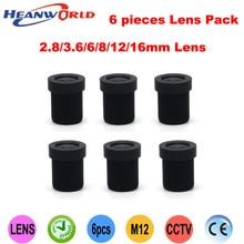 Heanworld мм Бесплатная доставка мм CCD CMOS мм, мм 3,6 мм, 6 мм, 8 мм, 12 мм, 16 мм ИК-объектив фиксированный Радужный Объектив Набор для камеры и 2,8 камеры видеонаблюдения (6 объективов в упаковке)