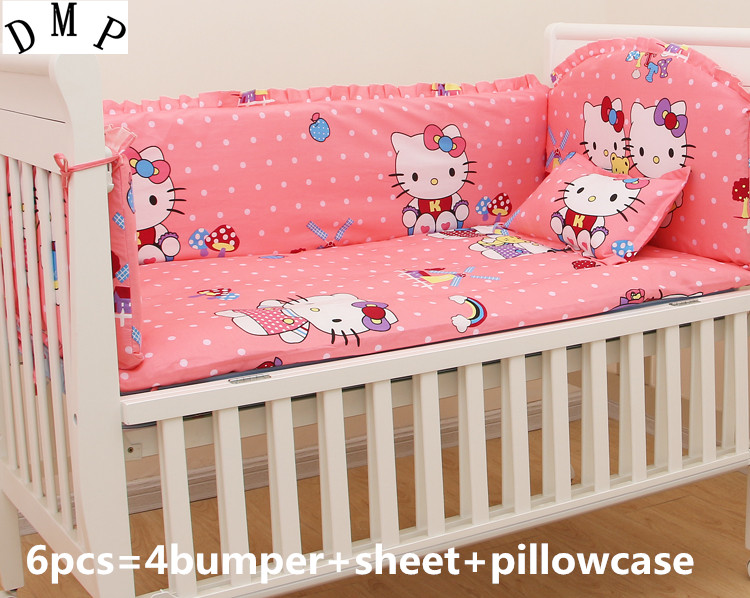 Promotion! 6PCS Cartoon Baby Cotton Bedding Set Crib Bed Set Baby Bed Set,include:(bumpers+sheet+pillowcase)