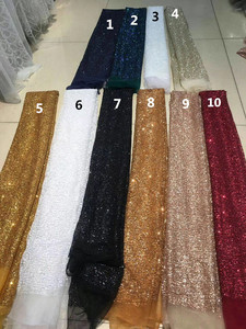 Image 1 - Специальная приклеенная блестящая Тюлевая ткань для красивого платья, блестящая кружевная ткань с принтом