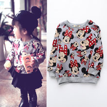 Meisjes Shirt Cartoon Minnie Mickey Gedrukt Kids Trui 2018 Herfst Vetement Enfant Fille Kinderen Tops Meisje Fleece Sweatshirt(China)