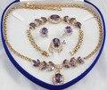 Nobleza cristal de Cuarzo Nueva moda verde circón anillo collar pendientes pulsera joyería conjunto de Plata Del gancho Del Envío libre