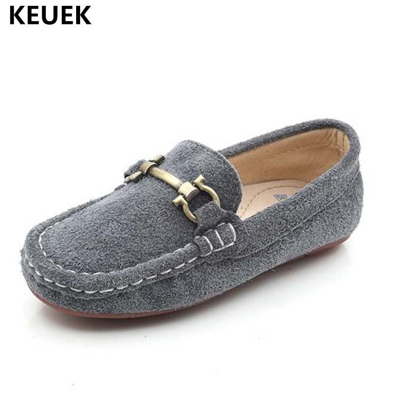 New British style Nubuck Leather Children Shoes Loafers Boys Girls Genuine Leather Shoes Kids Flat Baby Casual Dress Shoes 041 2018 new genuine leather kids shoes boys mocassins fashion soft children shoes for boys girls casual flat slip on loafers