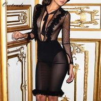 Ocstrade Black V Neck Long Sleeve Knee Length Mesh See Through Sexy Bandage Dress HJ474 Black