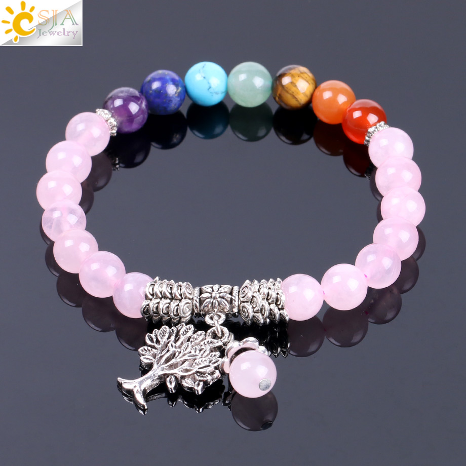 CSJA Natural Pink Crystal Quartz 7 Chakra Gem Stone Bead Bracelet Tree Pendant Prayer Healing Stretch Bangles Women Jewelry F129