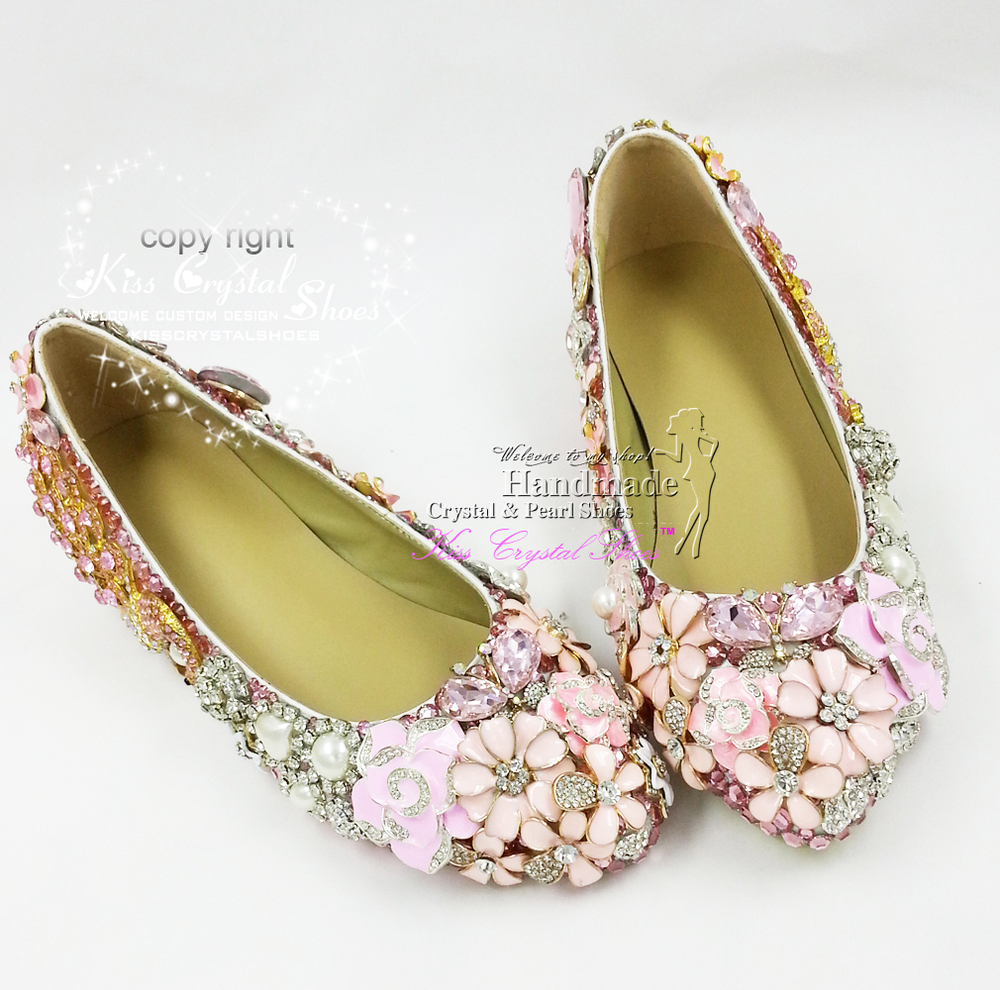 9232f0c4d248 Flat Shoes Women Wedding Shoes New Elegant Customized Handmade glitter Pink  Ballet Flat Bridal Shoes for Wedding Party-in Women s Flats from Shoes on  ...