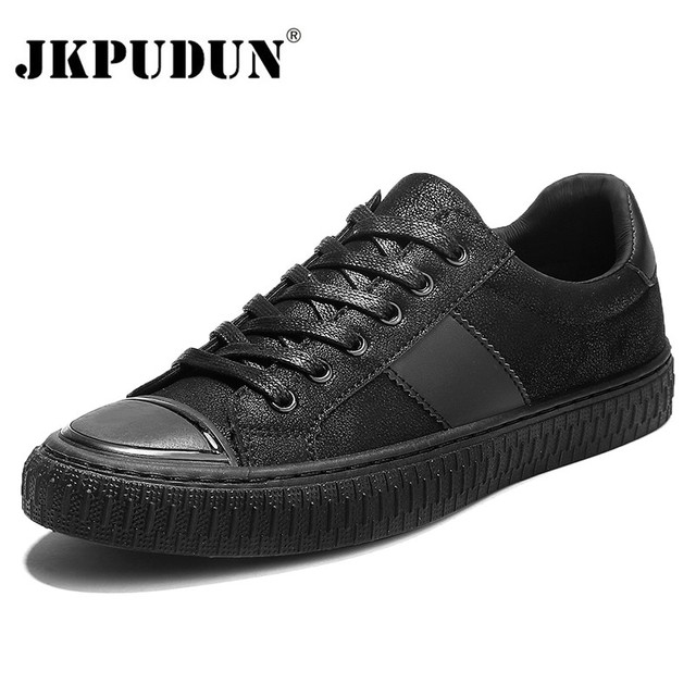 931187cd749 JKPUDUN Classic Hip Hop Mens Shoes Casual Trainers Luxury Brand 2018  Designer PU Leather Shoes Men High Quality Fashion Sneakers