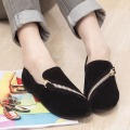 DreamShining Flat Shoes Women New Spring Shoes Casual And Comfortable Flat Shoes Size 35-40 Black / Brown Zipper Rest Shoes