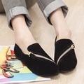 DreamShining Sapatas Lisas Das Mulheres Novas Primavera Sapatos Casuais E Confortáveis Sapatos Baixos Tamanho 35-40 Preto/Marrom Com Zíper Sapatos de descanso