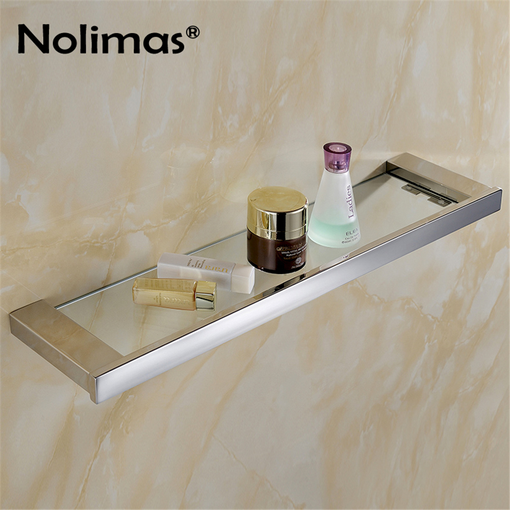 Mirror Polished SUS 304 Stainless Steel Glass Toilet Shelf Solid Square 55 CM Length for Single Layer Towel Rack stainless steel single deck glass shelf