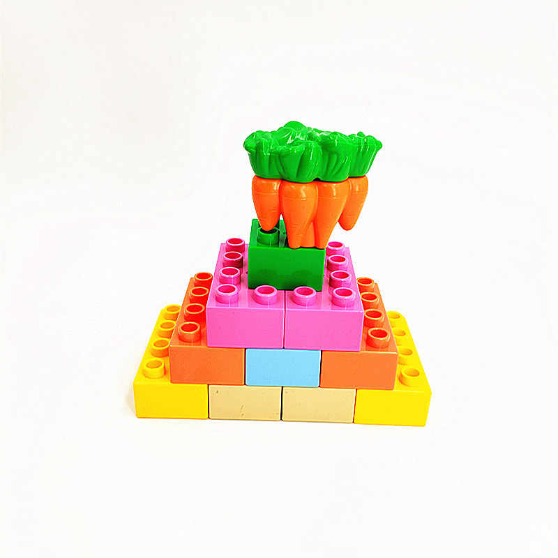 Big Size Diy Building Blocks Car Fruit Camera Family Figures Accessories Compatible with Duploed Toys for Children Kids Gift
