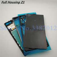Original Front Middle Frame Port Plug Cover Back Glass Battery Cover For Sony Xperia Z1 L39H C6902 C6903 Full Housing
