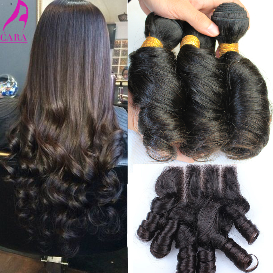 Egg Curl Hair With Closure 7A Brazilian Hair Weave Bundles With Closure 4Pcs Brazilian Curly Virgin Hair Weft With Closure