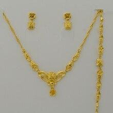 Sistema de La Joyería para Las Mujeres, Oro Plateado Encanto de La Flor Collar/Pendientes/Pulsera para Joyería de La Novia, la Mejor Boda Regalos de la fiesta