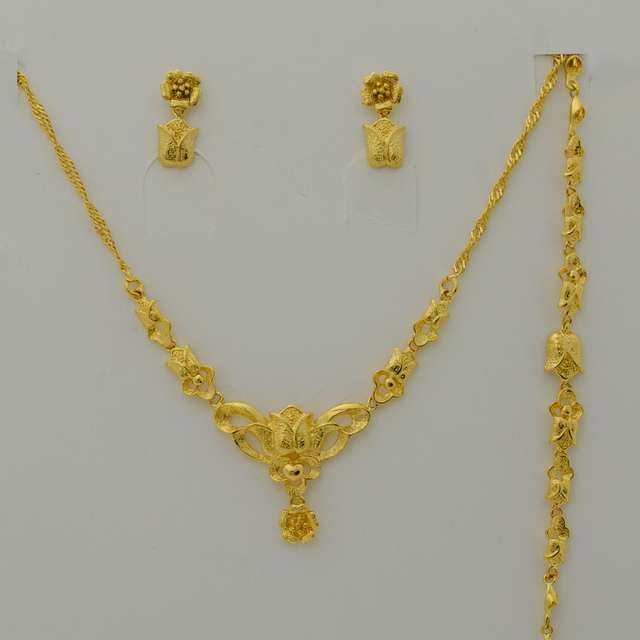set Jewelry for Women,Gold Plated Charm Flower Necklace/Earrings/Bracelet for Bride Jewelry,Best Wedding Party Gifts