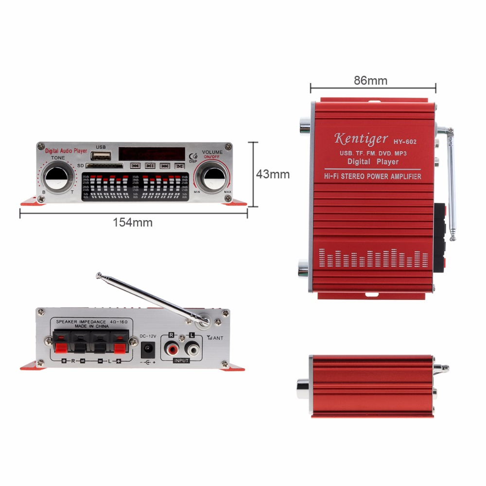 Kentiger HY 602 HI FI 12V 5A Audio Player Car Amplifier FM Radio Stereo Player Support SD USB DVD MP3 Input with Remote Control
