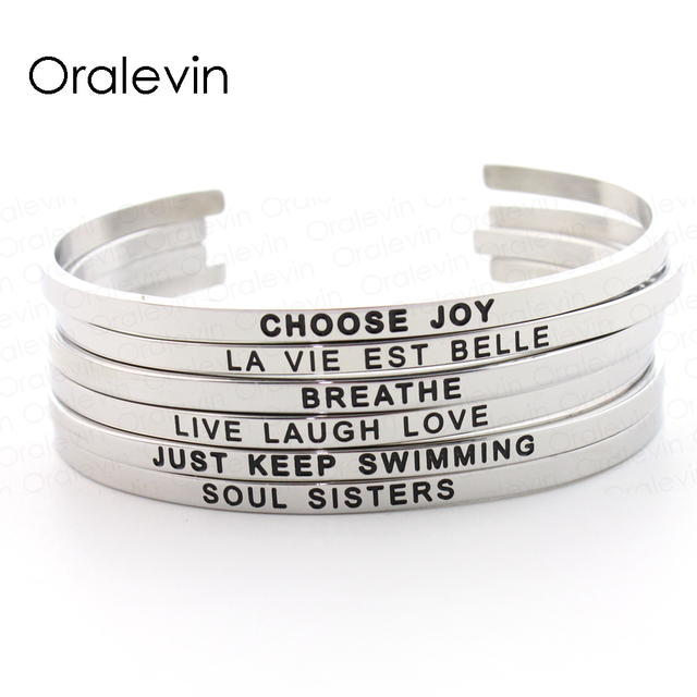 Stainless Steel Personalized Name Engraved Positive Inspirational Quote Cuff Mantra Bracelets Bangle For Women Color