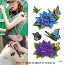 Rocooart 3D Kleurrijke Bloemen Vlinder Waterdichte Tijdelijke Tattoo Stickers Beauty Flash Tatuagem Fake Tattoo Taty Voor Body Art(China)