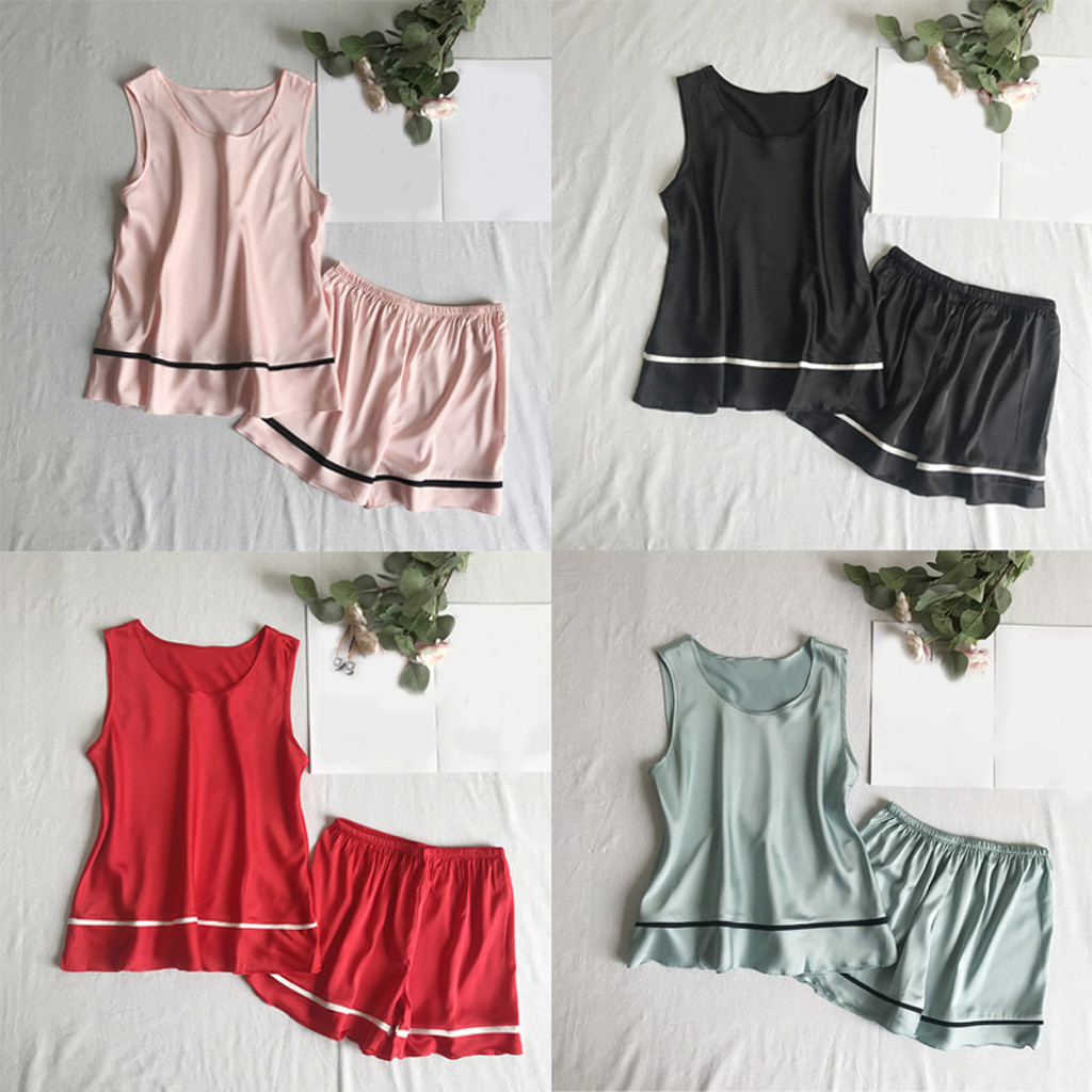 Women's Sleepwear Sexy Summer fashion causal Sexy Womens Sleeveless Sleepwear Shorts Pajama Set Y724