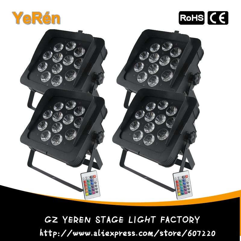 (4 pieces/lot) 12 x 18W RGBAW+UV IR Remote Flat LED Par water effect