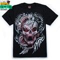 Hip Hop 2016 verano luminoso camiseta para hombre moda de mangas cortas cráneo flojo hombres camisa básica del o-cuello ocasional 3D impresos camisetas