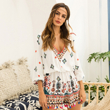 Sexy V-Neck Print Women Jumpsuits Floral Tassel Indie Folk Rompers For Female 2019 Summer Style Playsuits Fashion Beach Clothes
