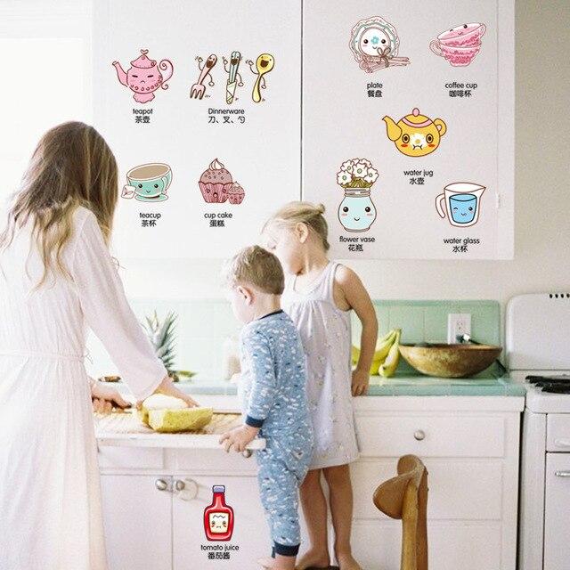 Cuatro dise os dibujos animados sitio de la cocina - Apliques de cocina ...